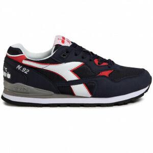 Scarpe-da-uomo-Diadora-N92-blu-bianco-rossa-c2074-sportiva-ginnastica-sneakers