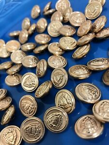 Vintage Round Gold Paisley Swirl Metal Shank Buttons 28mm Lot of 4 B150-4