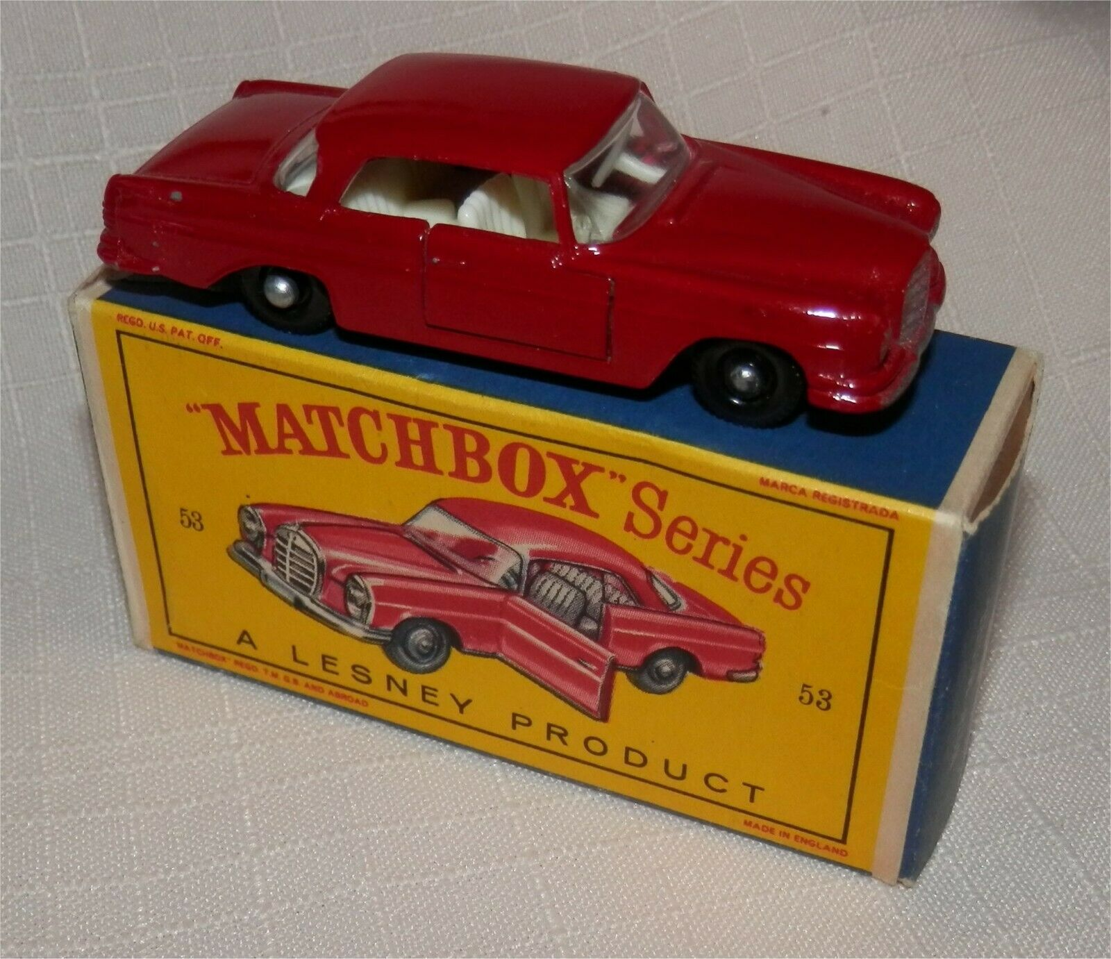 1960 s LESNEY MATCHBOX 53 MERCEDES BENZ coupé. BPW. Marron, Comme neuf in box, original