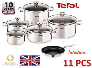 New-TEFAL-DUETTO-STAINLESS-STEEL-SET-11-PCS-LID-POTS-24-cm-PAN-INTUITION-KITCHEN