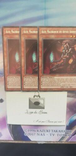 LOT DE 3X Alich Yu-Gi-OH Malbranche Des Abysses Ardents NECH-FR083 1st
