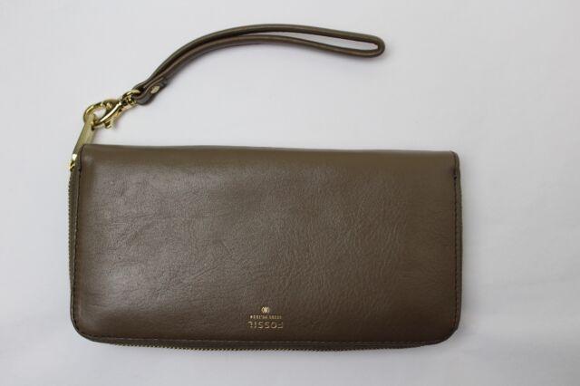 f7dfc6adf3f3d5 Fossil Sydney Leather Zip Clutch Wallet Wristlet Organizer Sl4265 ...