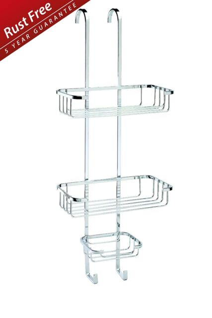 CROYDEX OVER DOOR RACK HOOK 3 TIER SHOWER BASKET CADDY CHROME PLATED STAND 599