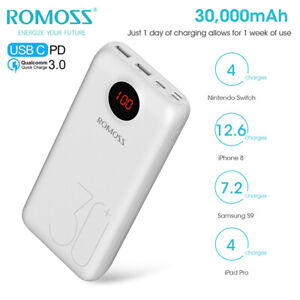 ROMOSS 18W PD 30000mAh Portable Power Bank Type-C QC3.0 External Battery Charger