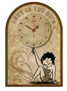 BETTY-BOOP-TIN-SIGN-CLOCK-Retro-Style-Lost-in-the-50s