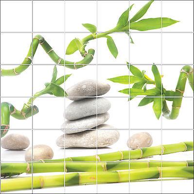 Stickers carrelage mural faience d co cuisine ou salle de - Decoration salle de bain zen bambou ...
