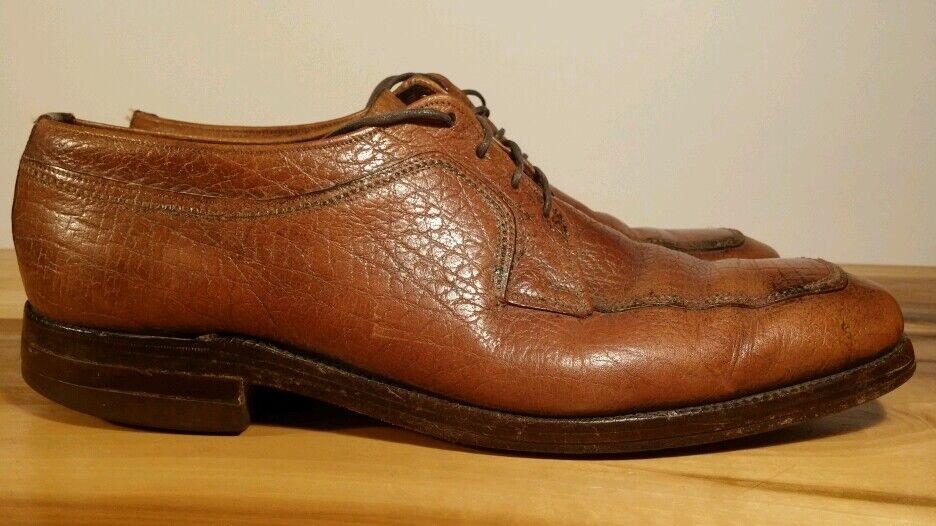 VTG Florsheim Imperial Distressed Oxford Pebble Grain Brown Distressed Imperial Pelle Shoe 11 11.5 ad4946
