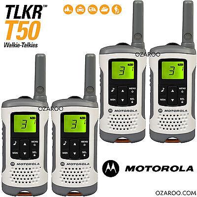 4 x Motorola Talker TLKR T50 2 Way Walkie Talkie PMR 446 Radio - Quad Pack White