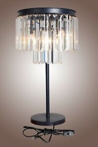 Image Is Loading Luxe Crystal Table Accent Lamp Crystal Iron Frame