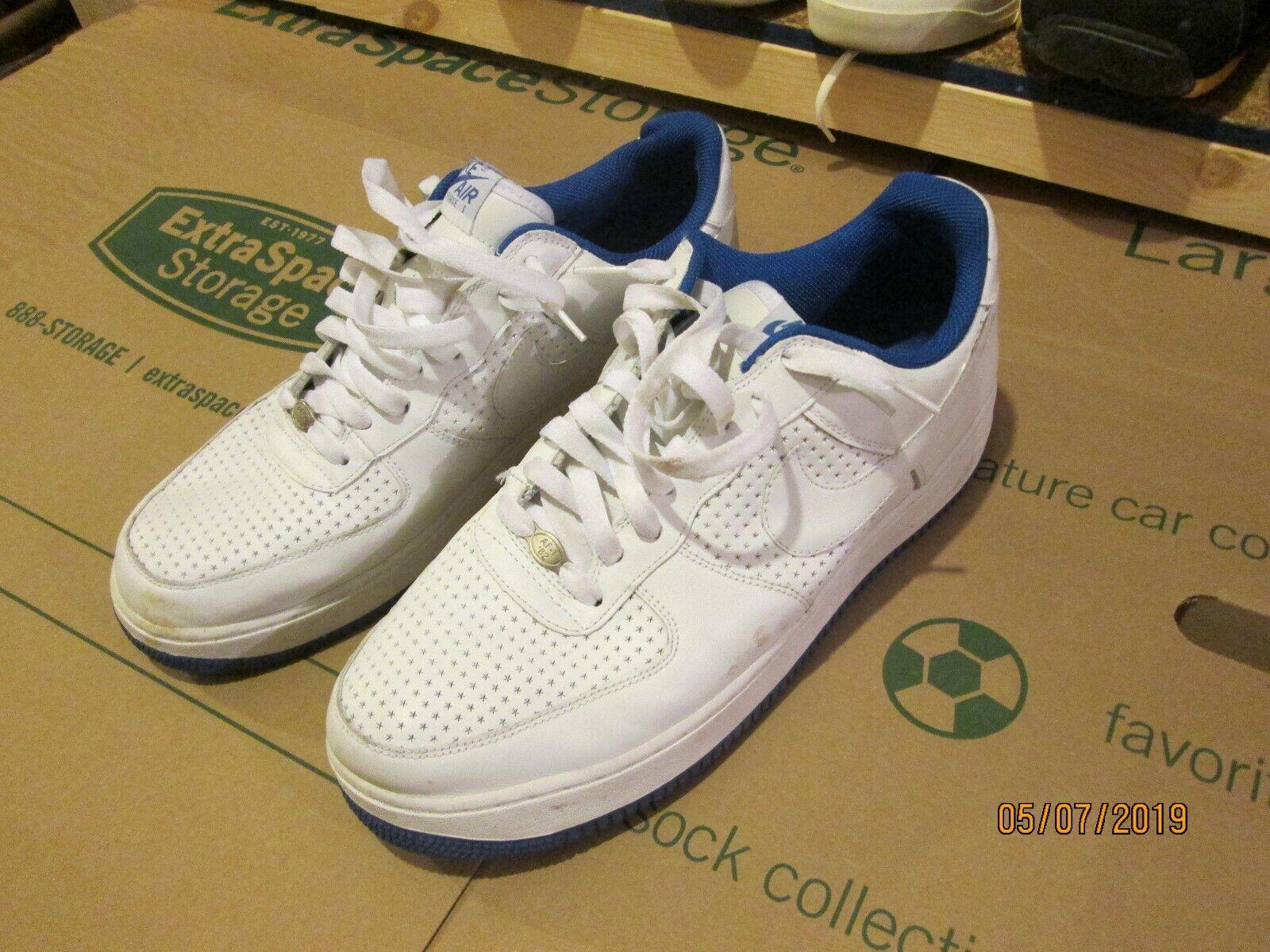 06 Nike Air Force 1 White Varsity Royal Blue Perforated Perf Stars