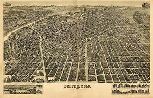 Map Denver Colorado 1889 Vintage Picture Canvas Art Print