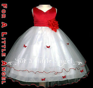 and dresses girl white Red flower