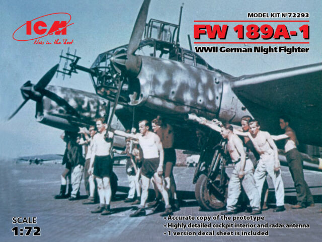 Icm 1/72 Fw-189A-1 II Guerra Mundial Alemán Noche Luchador #72293