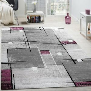 Contemporary Rugs Purple and Grey Geometric Pattern Mats Dining Room ...