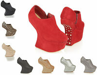 WOMEN'S LADIES EVENING PARTY HEEL LESS SPIKE PLATFORM ANKLE WEDGE SHOES BOOTS