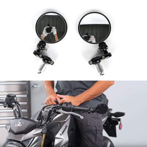 """Universal Foldable Motorcycle 7//8/"""" Handle Bar End Rearview Mirrors Cafe Racer BL"""