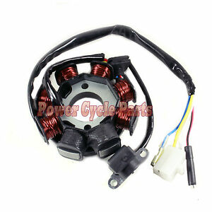 magneto stator 8 coil pole gy6 50cc scooter atv jonway