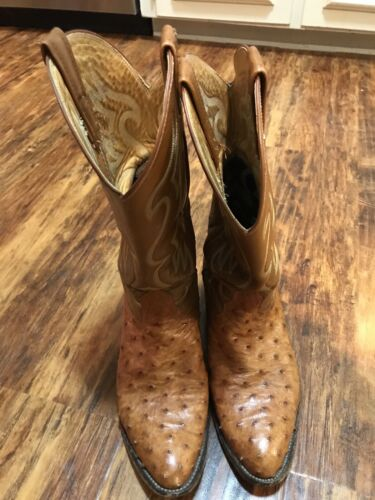 WESTERN COWBOY BOOTS QUILL OSTRICH SIZE 8.5