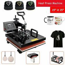 15x15 Digital Heat Press Printer Machine Combo Diy T Shirt 360 Degree 5 In 1
