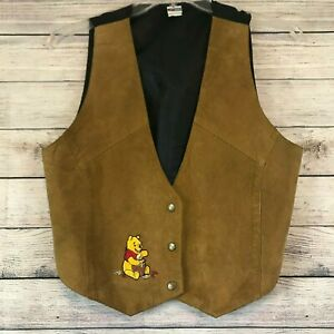 Vintage Winnie the Pooh Embroidered Leather Suede Jacket  Size L