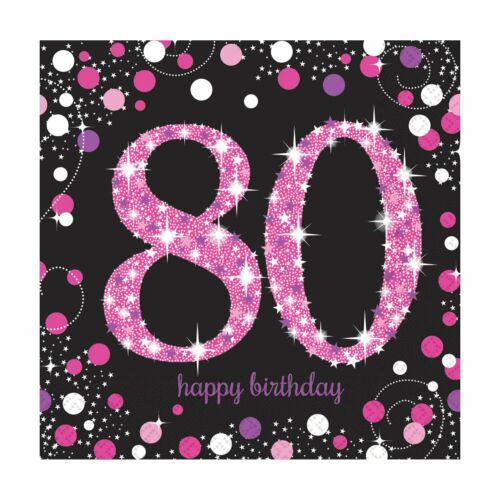 80 anniversaire-Pink Sparkling 80-DECO Ballons vaisselle de table anniversaire Set