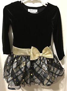 9a40d892a5cd Bonnie Jean Girls Plaid Sparkle Black Gold Tutu Christmas Party ...
