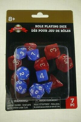 Includes a Free Small Dice Bag 7 Piece Blue Fossil Polyhedral Dice Set Classic RPG Dice Set for Tabletop Gaming