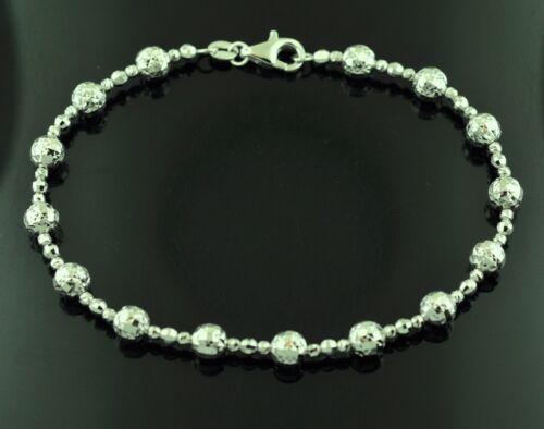 18k Or Blanc Perle Diamant Coupe boule bracelet 4.20 g #9922 H 3 Jewels