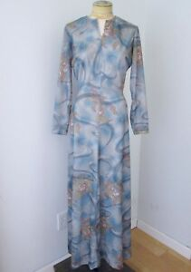 cd8ebed7d67 VGC Vtg 70s Sears Mod Blue Floral Swirl Polyester Knit Maxi Dress ...