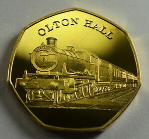 THE-OLTON-HALL-Steam-Engine-Collectable-Medal-Token-24ct-Gold-Railway