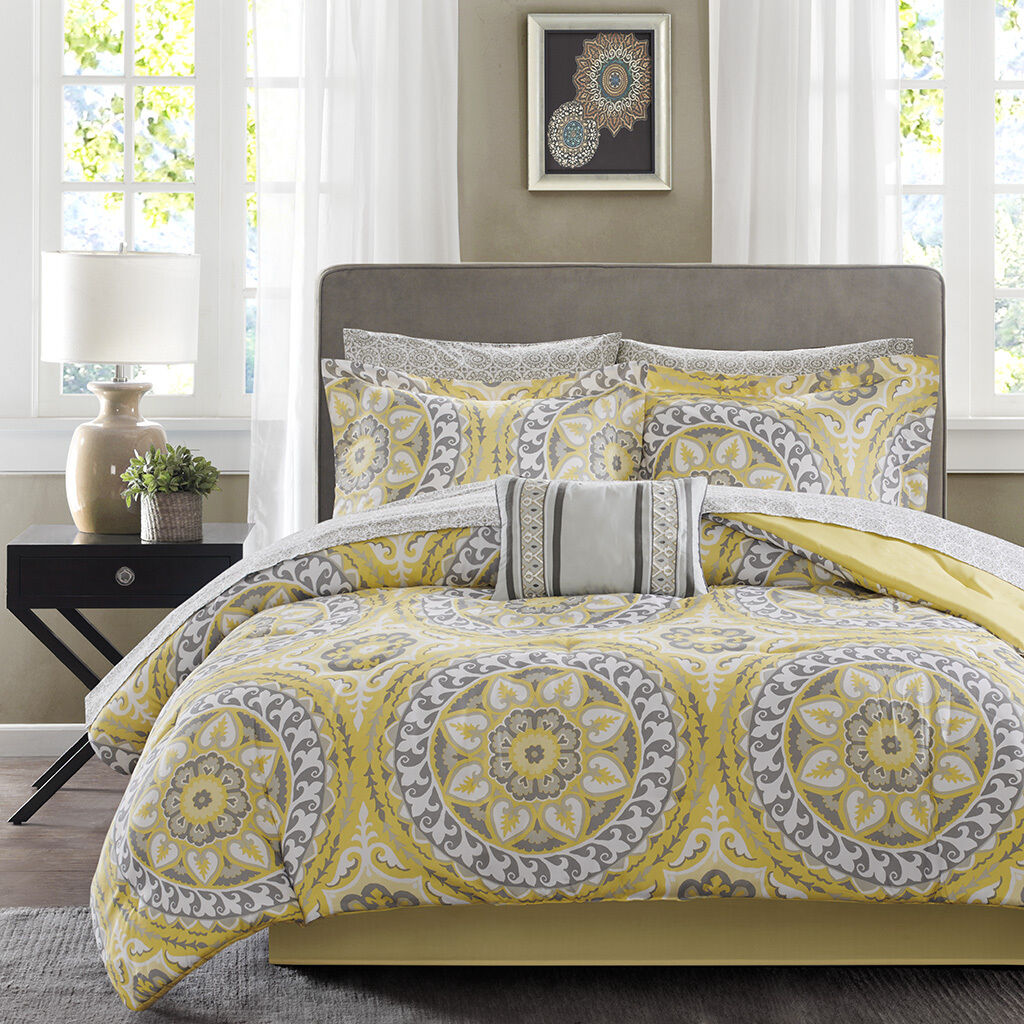 BEAUTIFUL MODERN TROPICAL EXOTIC BED IN A BAG giallo grigio COMFORTER SET SHEETS