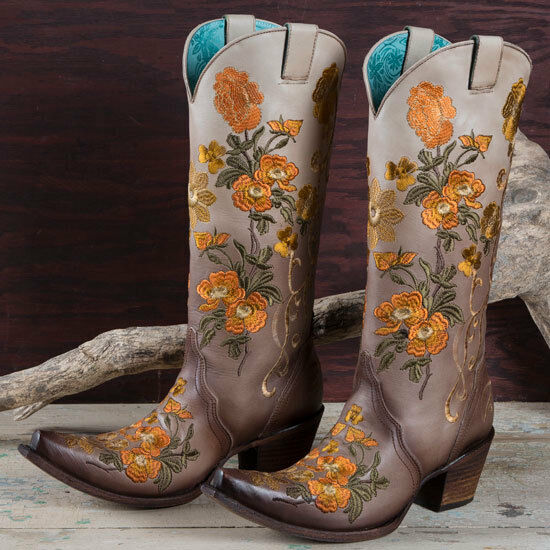 Corral Brown and orange Floral Boots