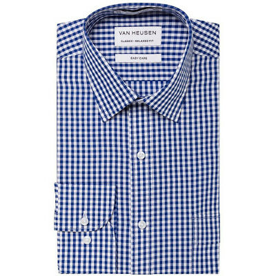 NEW Van Heusen CHECK BUSINESS SHIRT WHITE/BLUE White