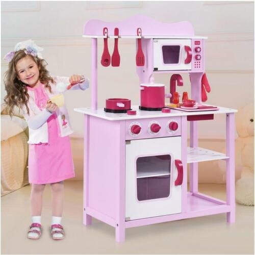 Wooden Little Chef Pretend Play Kitchen Cooking Toy Set with Cookware Accessorie