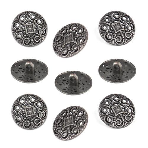 30X Antikes Blumen Knopf Nähen Metallknopf 18mm Runde Ösenknopf  Knöpfe Buttons