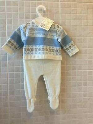 3-6 Baby Boys Knitted Spanish Romany Style 2 piece set Top leggings  Blue 0-3