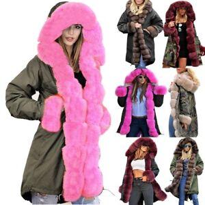 Womens-Winter-Jacket-Hooded-Coat-Fishtail-Long-Sleeves-Faux-Fur-Parka-Overcoat