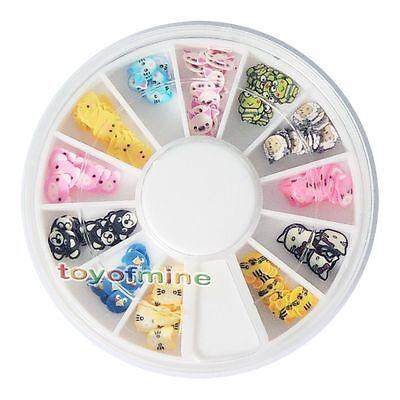 New 120 PCS 3D Animal Fimo Nail Art Tips UV Acrylic Decoration Wheel