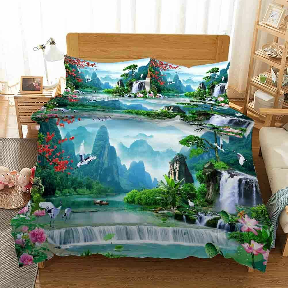 Lotus Water Ladder 3D Printing Duvet Quilt Doona Covers Pillow Case Bedding Sets