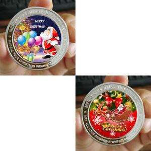 Merry Christmas Lot of 2 - 1 oz .999 Fine Silver Round Bar Bullion Coin 398