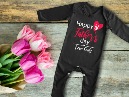 Personalizado Feliz Día del Padre 1st Negro bebé crezca rompersuit Pelele Padres Regalo