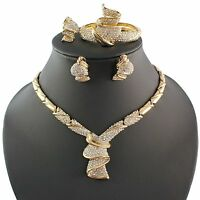 Fashion Women 18k Gold Plated Africa Dubai Wedding Party Necklace Jewelry Set