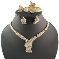 Fashion Women 18k Gold Plated Africa Dubai Wedding Party Necklace Jewelry Set