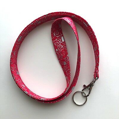 Red Hearts Lanyard Keychain ID Badge Fabric Key Keeper Necklace Novelty Gold Red Valentines Day