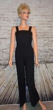 RARE Vintage 70s Black Jumpsuit Cat Suit Overalls Disco Bell Bottom Size S EUC