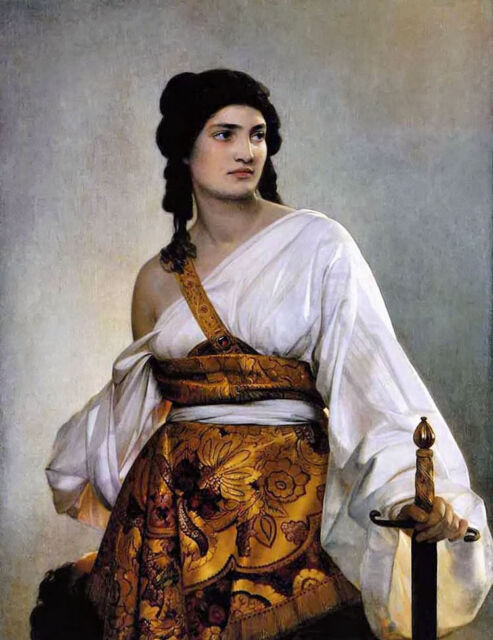 Oil painting august riedel judith holding the head of Giant and sword canvas