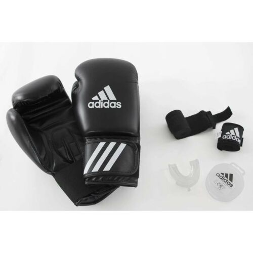 ADIDAS BEGINNERS' BOXING KIT GLOVES WRAPS, MOUTHGUARD MUAY THAI MMA TRAINING