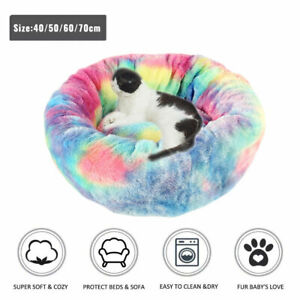 Pet-Dog-Cat-Calming-Bed-Warm-Soft-Plush-Round-Nest-Comfy-Sleeping-Kennel-Cave
