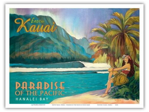 Rick Sharp Hanalei Exotic Kauai Hawaii Vintage Travel Poster Print