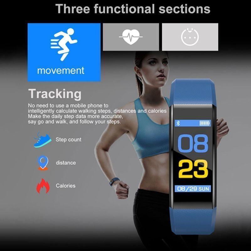 USA IP67 Smart Watch Monitor Pedometer Tracker ID115